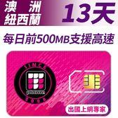 【TPHONE上網專家】澳洲/紐西蘭 13天無限高速上網 每天前面500MB支援高速 插卡即用