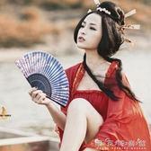 夏季女式真絲扇杭州古風折扇小禮品竹扇子中國風桃花扇 晴天時尚館