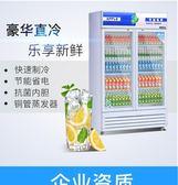 冷藏展示櫃冷藏保鮮櫃立式商用冰箱雙門超市開門飲料櫃冰櫃冷藏櫃igo 【Pink Q】