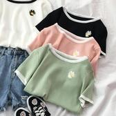 短袖T恤女裝2020年新款短款上衣服ins潮半袖體桖冰絲針織小衫夏季