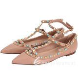 VALENTINO Rockstud 鉚釘繫帶荔紋平底尖頭鞋(駝色) 1630010-E2