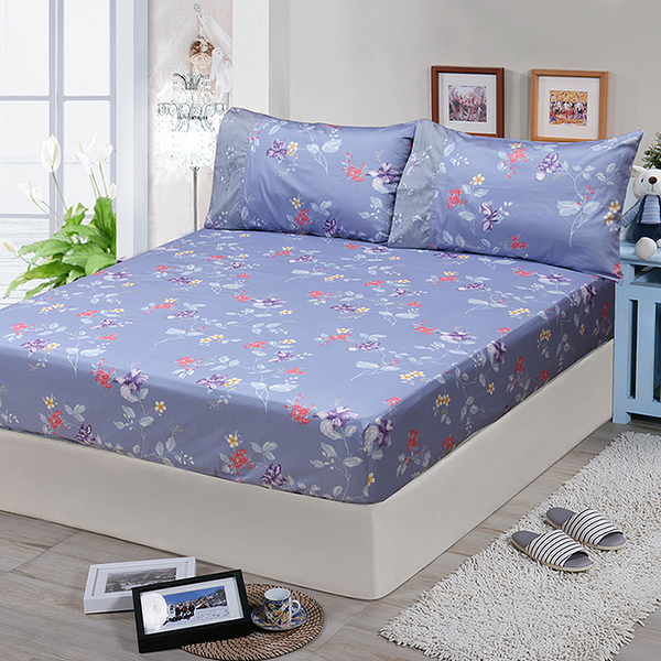 【FITNESS】精梳棉單人床包枕套二件組-馬格森特(灰藍)_TRP多利寶