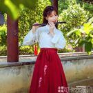 古裝服 漢服女改良漢元素中國風學生套裝古裝超仙女飄逸清新淡雅古風儒裙 -可卡衣櫃