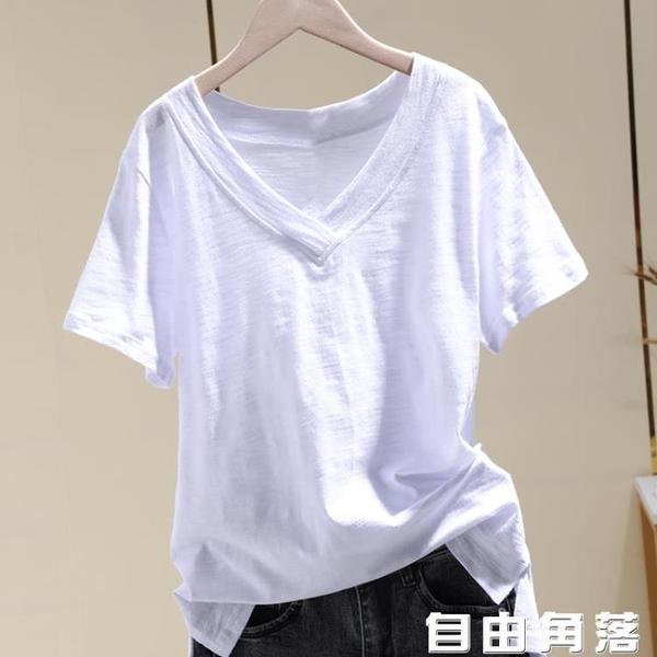 白色v短袖t恤 女夏新款純色寬鬆竹棉百搭上衣 自由角落