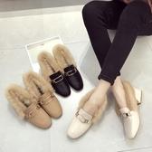 網紅春季毛毛鞋女2020新款復古百搭韓版中跟粗跟社會休閒仙女單鞋 藍嵐