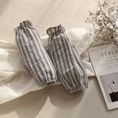 【優選】日式棉麻透氣條紋袖套辦公袖頭成人套袖