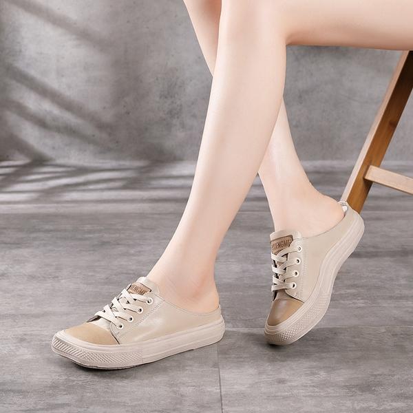 方頭系帶拖鞋 包頭平底拖鞋 真皮手工女鞋/3色-夢想家-標準碼-0412