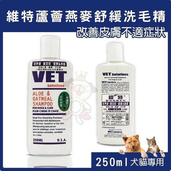 *KING WANG* 美國V霸 VET 維特《蘆薈燕麥舒緩洗毛精》改善皮膚不適症狀 250ml