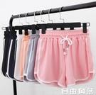 運動短褲 寬鬆居家居韓版 外穿高腰睡褲 自由角落