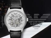 【時間道】Emporio Armani 亞曼尼簡約奢華腕錶–機械鏤空銀殼黑皮(AR60003)免運費