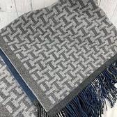 BRAND楓月 HERMES 愛馬仕 灰藍白H毛毯 流蘇 H102963 100%羊毛 毯子 被子 被單 地毯 家居家飾