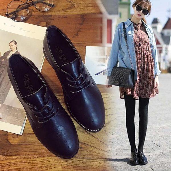 紳士鞋女秋冬英倫學院風粗跟皮鞋漆皮繫帶復古牛津鞋 貝芙莉女鞋