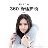 充氣枕旅行按壓充氣u型枕便攜枕頭頸椎護頸枕脖子U形枕睡覺神器飛機靠枕