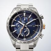 CITIZEN 星辰 鈦 光動能萬年曆電波錶-藍x銀/42mm AT8181-63L