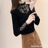 長袖針織上衣 秋冬新款蕾絲打底衫針織衫圓領長袖修身百搭性感毛衣女上衣潮 城市科技