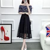 雙12狂歡購 蕾絲半身裙女2018春新款韓版中長款鬆緊腰鏤空A字長裙夏季百褶裙