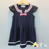 童裝 洋裝 蝴蝶結條紋領印花荷葉袖洋裝(藍)