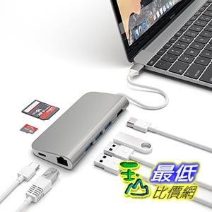 [美國直購] Satechi Aluminum 銀色 Multi-Port Adapter 4K HDMI (30Hz), Type-C Pass Through, Ethernet, 適配器