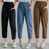 MIUSTAR 前口袋鬆緊棉麻七分褲(共5色,M-XL)【NH1442】預購