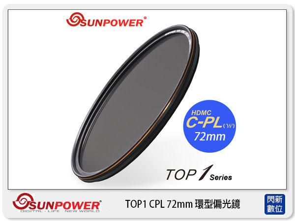 送濾鏡袋~SUNPOWER TOP1 CPL 72mm 環型偏光鏡 航太鋁合金 (72,湧蓮公司貨)【0利率,免運費】