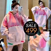克妹Ke-Mei【ZT56109】BF GIRLY彩色噴繪大口袋抽繩刷毛連帽T恤洋裝