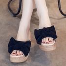 M19+1 愛麗絲的最愛 時尚系甜美蝴蝶結舒適好走厚底楔型拖鞋/厚底拖鞋 (現貨+預購)