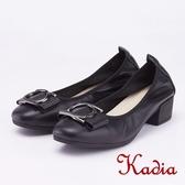 kadia.OL 造型圓釦粗跟高跟鞋(9009-90黑色)