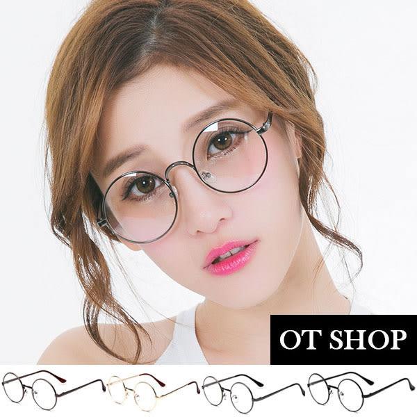 OT SHOP眼鏡框‧中性文青歐美圓框造型全金屬平光眼鏡鼻墊加高‧亮黑/金色/槍灰/古銅‧現貨‧G16