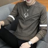 長袖T恤男士上衣服春秋衣男裝秋裝外穿韓版打底衫 夢露