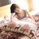 搖粒絨 / 雙人【暖呼呼搖粒絨】雙人床包兩用毯組 【森林麋鹿】 赫雪黎寢具-超取限1件-