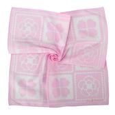 Clathas 經典山茶花幸運草方格純綿帕巾(粉色)989254-3