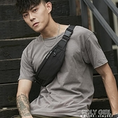 HK男士腰包休閒側背斜背包多功能小型輕便胸包跑步手機包男包 元旦鉅惠