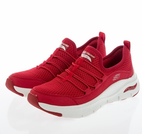 SKECHERS ARCH FIT 女款紅色運動休閒鞋-149056RED