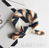 韓版小絲巾女復古條紋小方巾厚絲巾文藝裝飾小領巾     琉璃美衣