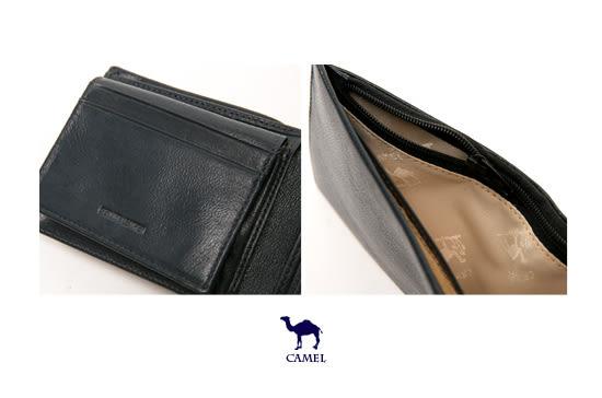 CAMEL - 沉穩內斂系真皮款4卡3照可拆式上下翻短夾-內斂咖