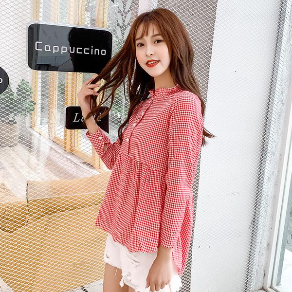 藍色巴黎 - 韓版格子長袖娃娃裝 上衣 T恤《3色》【28794】