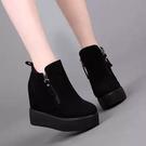 短靴 高跟 裸靴 馬丁靴厚底磨砂皮女靴 秋冬新款內增高短靴坡跟加絨女鞋小碼33-42碼