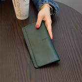 簡約超薄長版錢包女皮質好康新品氣質搭扣卡位軟牛皮錢夾