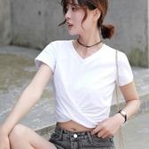 特賣v字領上衣夏天小心機T恤丅上衣短袖女純棉高腰短裝露臍個性感V字領健身瑜伽