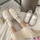 熱賣魔術貼鞋 不累腳護士鞋2021春秋季新款平底防滑厚軟底棉鞋舒適魔術貼小白鞋 coco