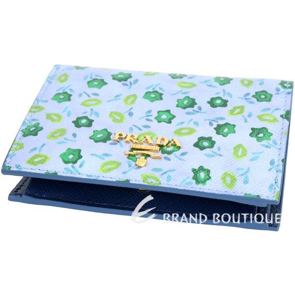PRADA Saffiano 印花防刮牛皮釦式短夾(藍色) 1730027-23