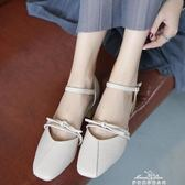 涼鞋新款女夏韓版時尚方頭一字扣帶粗跟chic包頭中跟奶奶鞋潮 中秋節促銷