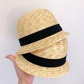 紳士帽 夏天男女寶寶小禮帽麥稈草帽百搭漁夫帽兒童防曬遮陽帽出游沙灘帽 快速出貨
