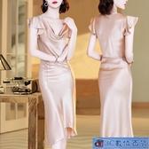 現貨吊帶裙 緞面連身裙女夏2020款純色短袖顯瘦不規則法式魚尾包臀裙夜店洋裝 3C數位百貨9-2