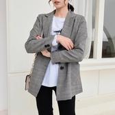 格子西裝外套女英倫風韓版寬鬆小個子氣質小西服春秋裝1243#T150-C紅粉佳人
