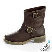 G.Ms. 全牛皮雙皮帶釦惡魔工程短靴-咖啡色