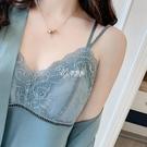 睡衣女性感春夏薄款冰絲吊帶睡裙睡袍套裝蕾絲露背誘惑情調帶胸墊