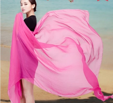 [協貿國際]  女士春夏季加大尺寸純色雪紡絲巾披肩圍巾 (1入)