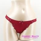 Chasney Beauty-Plume羽毛S蕾絲蝴蝶結丁褲(紅)