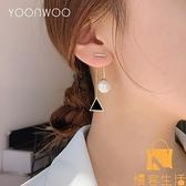純銀珍珠耳飾女韓國氣質網美長款圓臉耳墜耳環潮【慢客生活】